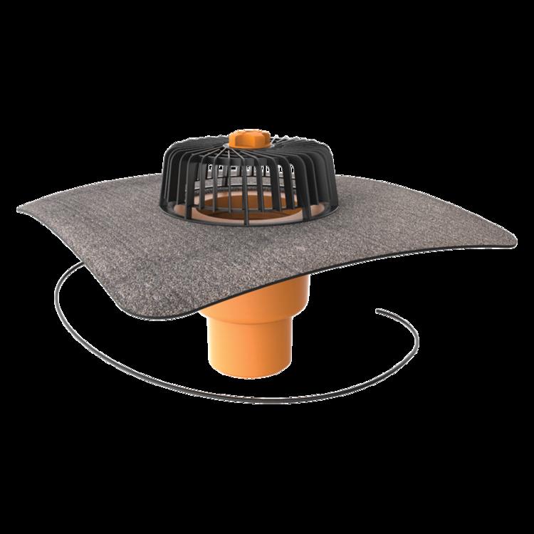 Покрівельна воронка вертикальна з підігрівом з привареним бітумним фартухом