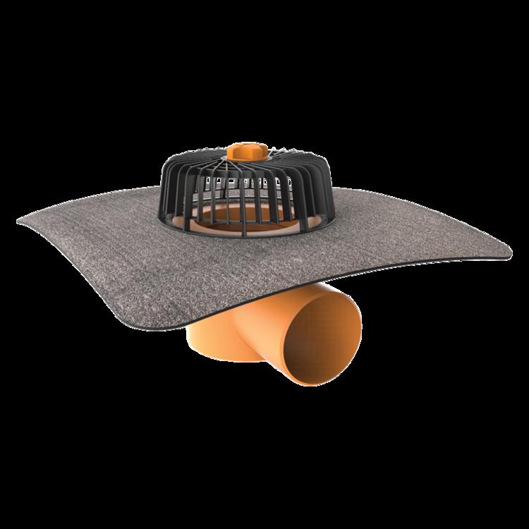 Покрівельна воронка горизонтальна з привареним бітумним фартухом