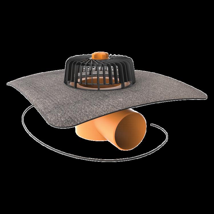 Покрівельна воронка горизонтальна з підігрівом із привареним бітумним фартухом