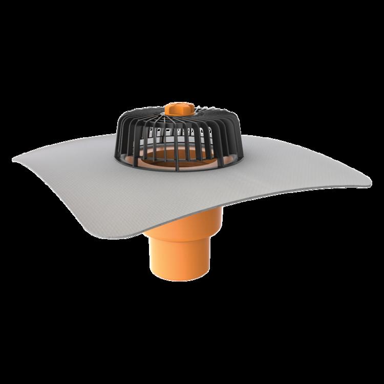 Покрівельна воронка вертикальна з привареним фартухом із ПВХ-мембрани