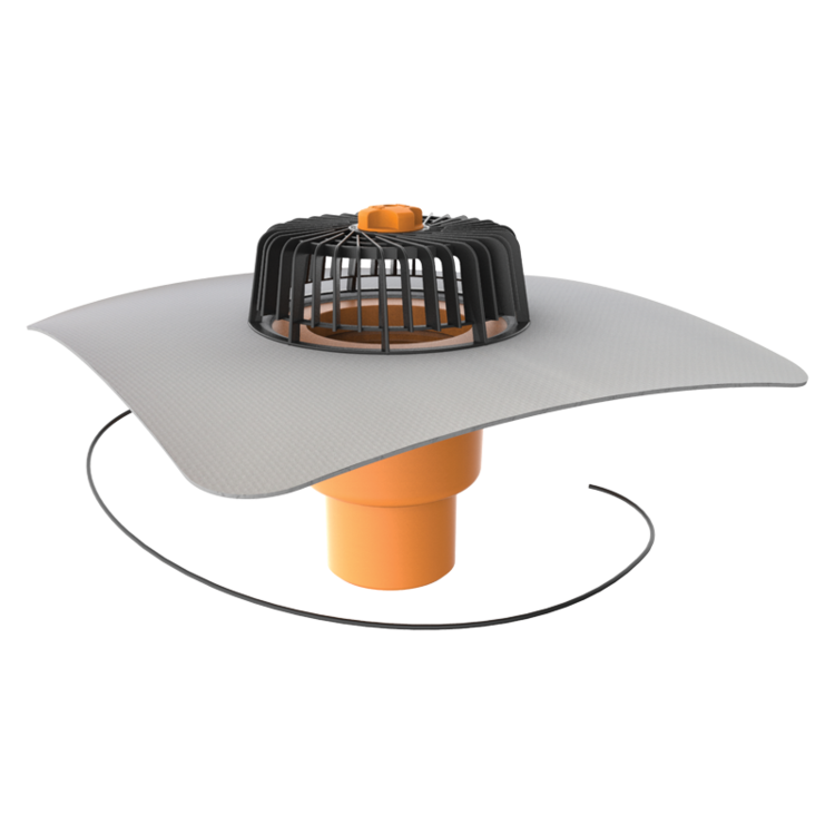 Покрівельна воронка вертикальна з підігрівом з привареним фартухом з ПВХ-мембрани