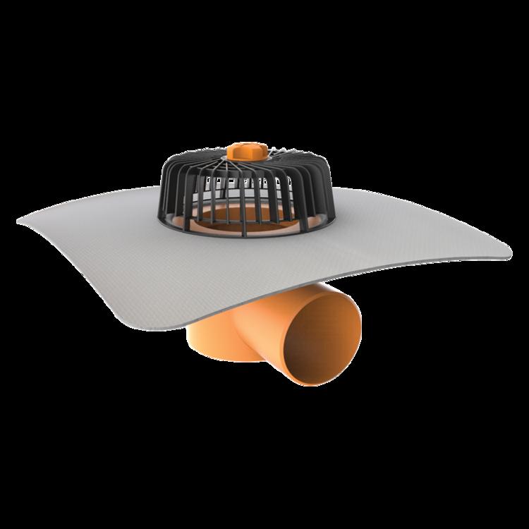 Покрівельна воронка горизонтальна з привареним фартухом із ПВХ-мембрани