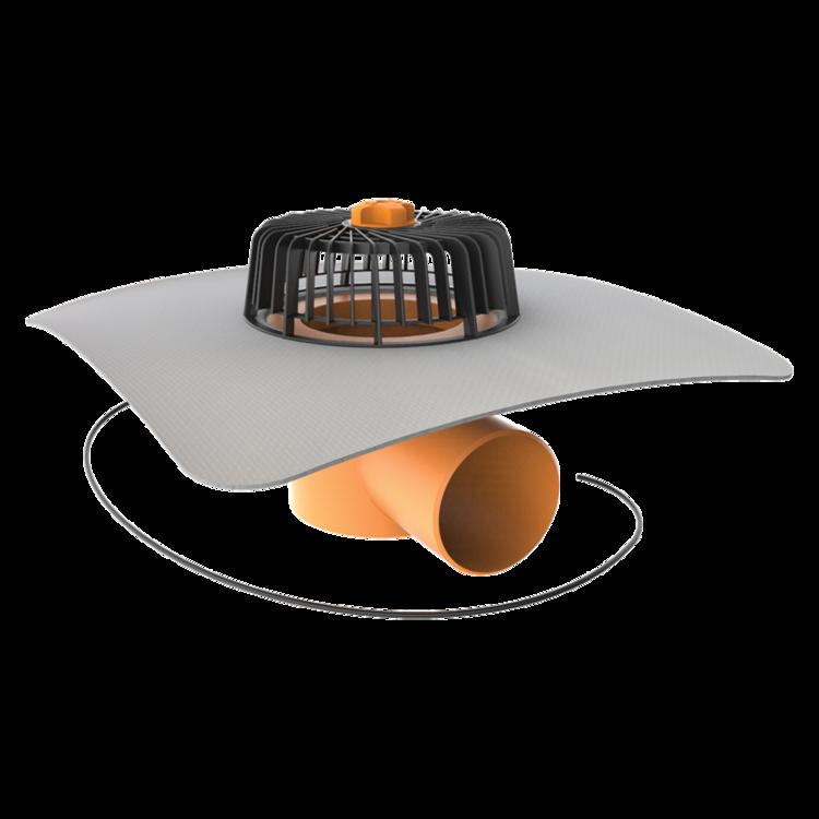 Покрівельна воронка горизонтальна з підігрівом і привареним фартухом із ПВХ-мембрани