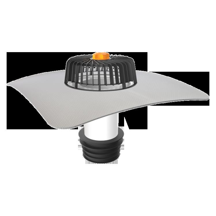Ремонтна воронка для покрівель без теплоізоляції з привареним фартухом із ПВХ-мембрани