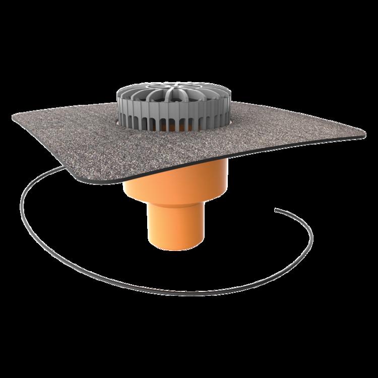 Терасна воронка вертикальна з підігрівом із привареним бітумним фартухом