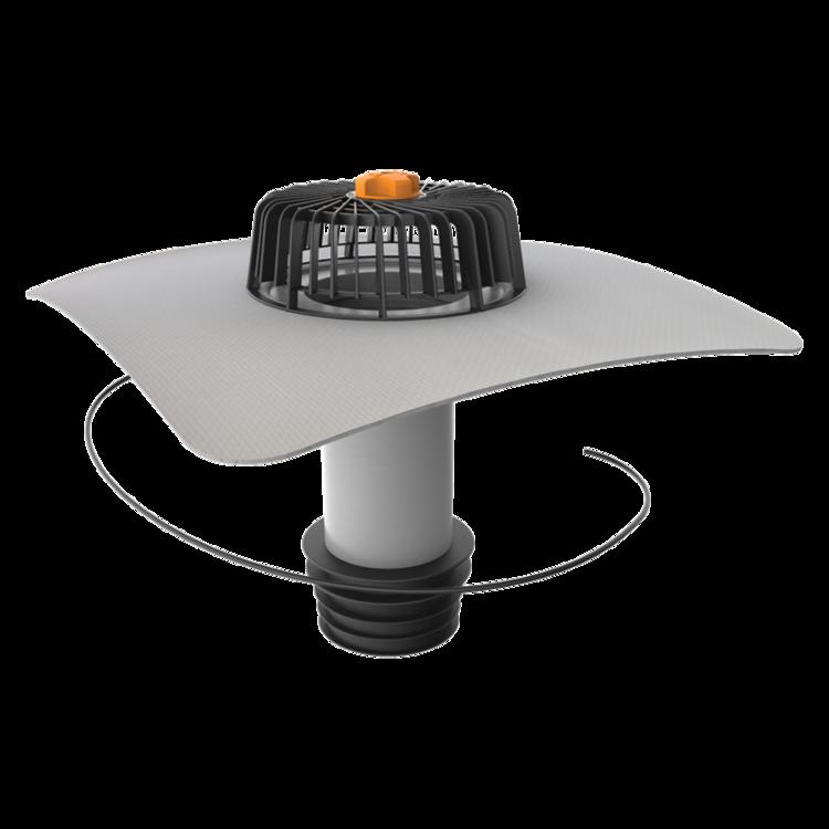 Ремонтна воронка вертикального підключення з підігрівом з привареним фартухом із ПВХ-мембрани