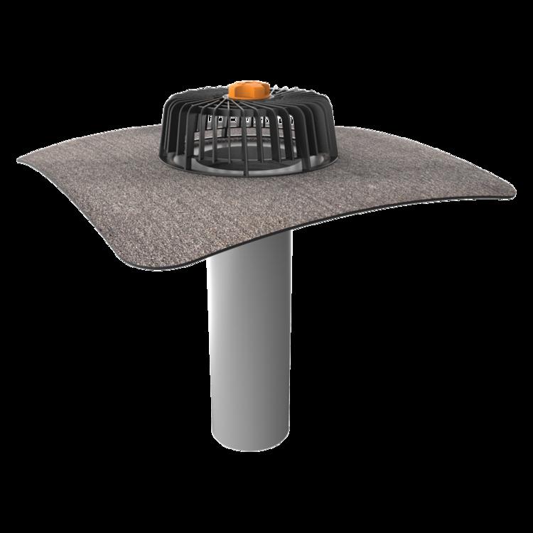 Одношарова покрівельна воронка з привареним бітумним фартухом