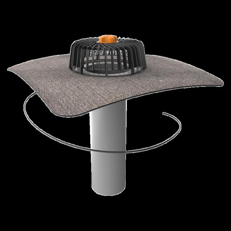 Одношарова покрівельна воронка з підігрівом з привареним бітумним фартухом