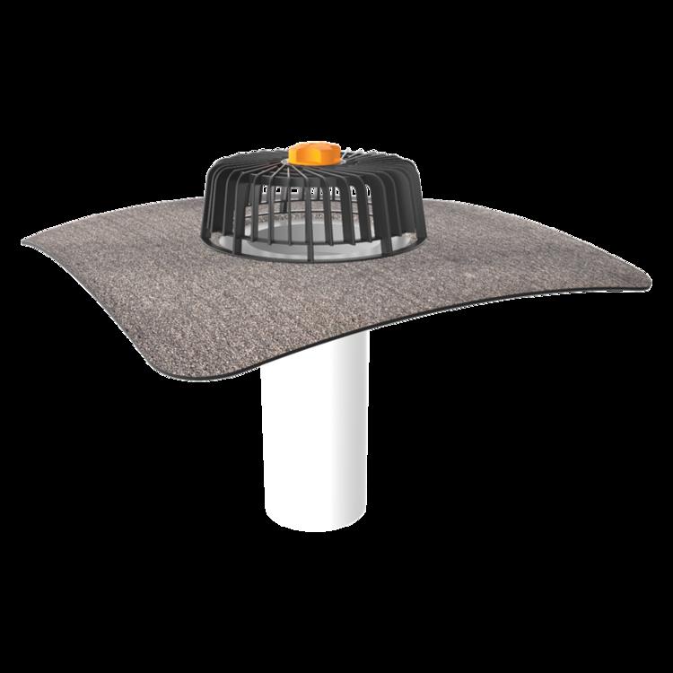 Одношарова покрівельна воронка з привареним бітумним фартухом для покрівель без теплоізоляції