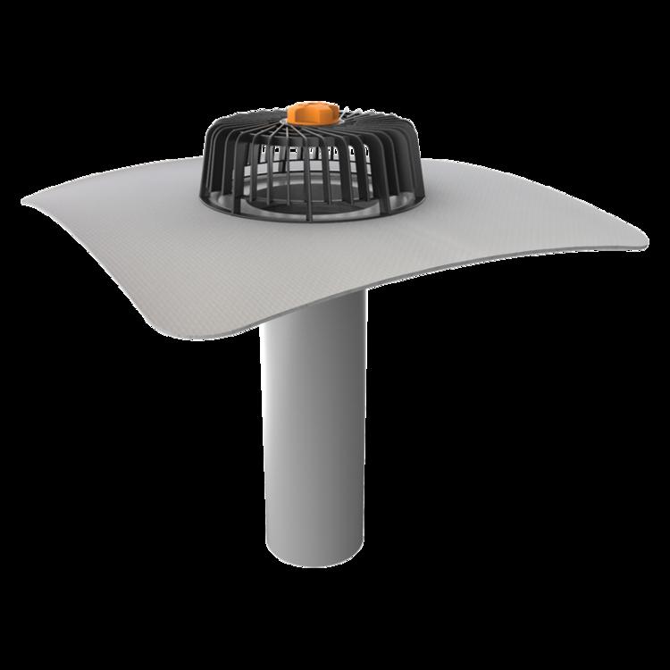 Одношарова покрівельна воронка з привареним фартухом із ПВХ-мембрани