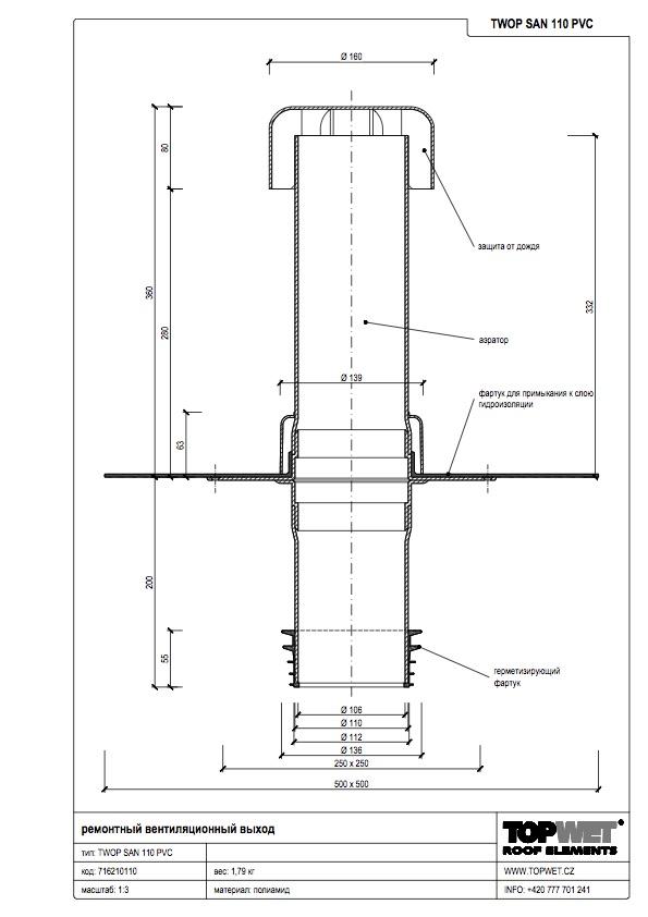 Ремонтный вентиляционный выход с приваренным фартуком из ПВХ-мембраны1