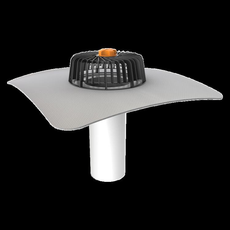 Одношарова покрівельна воронка з привареним фартухом із ПВХ-мембрани для покрівель без теплоізоляції