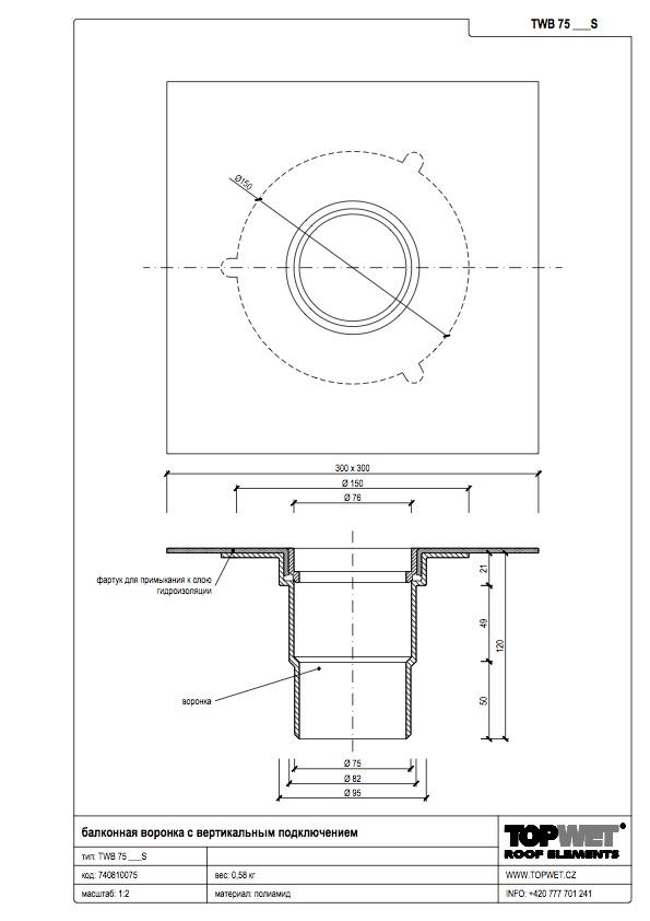 Воронка водосточная для балконов вертикальная с приваренным оригинальным фартуком1